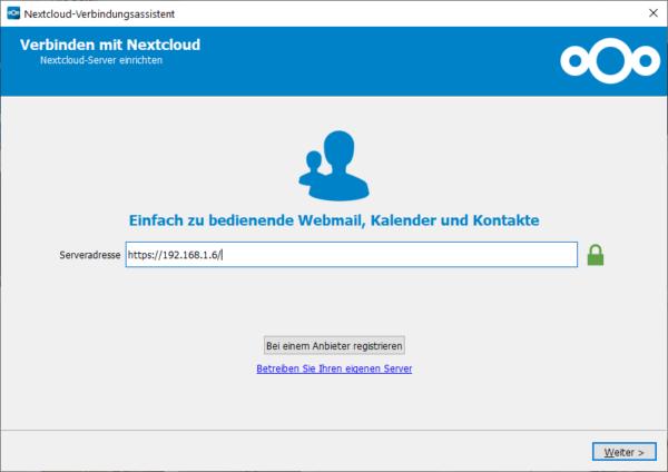 Nextcloud Config Serveradresse eingeben